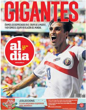 Al Día (Costa Rica) - 21 June 2014 cover, depicting Bryan Ruiz celebrating his goal against Italy at the 2014 FIFA World Cup
