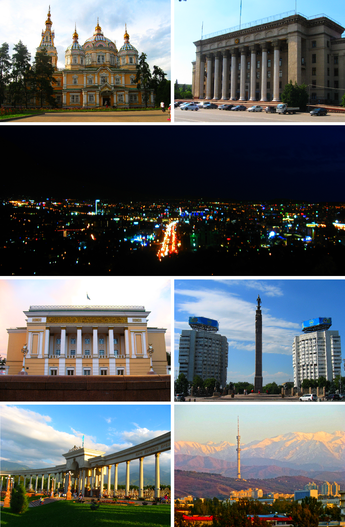 Clockwise from top left: Ascension Cathedral in Panfilov Park; Kazakh-British Technical University; Panoramic view of Almaty from the hills of the Kok Tobe; Abay Opera House; Golden Warrior Monument in the Republic Square; Entrance gate to the Park of the First President; View of the Almaty Tower.