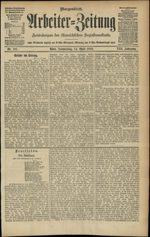 An old newspaper written in German Fraktur script. The date printed on the newspaper is 14 April 1910.