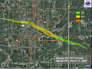 2008 Atlanta tornado outbreak - Street level tornado track map of the Atlanta tornado (NWS Peachtree City, Georgia)