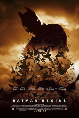 Batman hovers over the film's title as the principle actors are listed.
