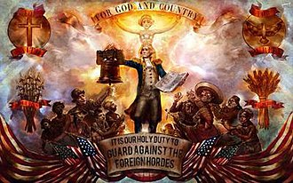 BioShock Infinite - A Columbian propaganda poster showing George Washington standing tall with the Ten Commandments above a throng of racist caricatures of Irish, Chinese, Native Americans, Mexicans, and Indians. This Columbia propaganda poster, showing the xenophobia of the Founders, was briefly used by the National Liberty Federation.