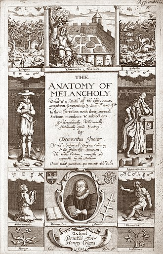 Robert Burton (scholar) - Frontispiece for the 1638 edition of The Anatomy of Melancholy