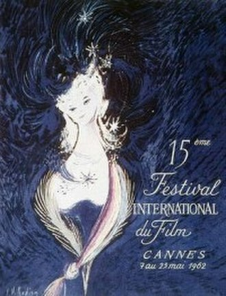 1962 Cannes Film Festival - Official poster of the 15th Cannes Film Festival, an original illustration by A.M. Rodicq.