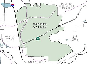Carmel Valley, San Diego - Image: C Vmap