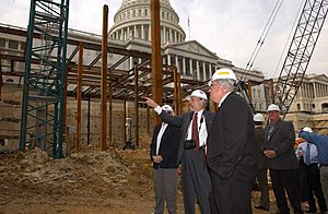 United States Capitol Visitor Center - Former House Speaker Dennis Hastert and Former Architect of the Capitol Alan Hantman tour the CVC during the early stages of construction.