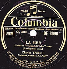 Charles Trenet, La Mer, A side, Columbia Record, March, 1946.jpg