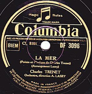 La Mer (song) - Image: Charles Trenet, La Mer, A side, Columbia Record, March, 1946