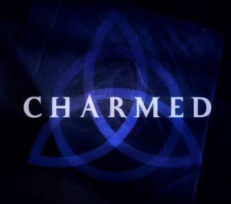 A dark blue triquetra over a darker blue background that fades to black near the edges with the word .mw-parser-output .smallcaps{font-variant:small-caps}charmed in capital letters across the center using a light-blue, medium-sized font