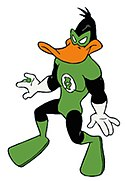 """Duck Dodgers as Green Lantern, from """"The Green Loontern"""" (episode #9 of Duck Dodgers)."""
