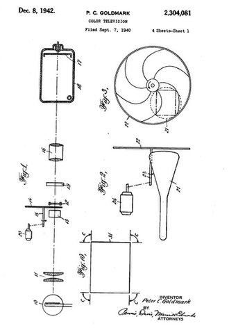 Field-sequential color system - Patent diagrams of CBS field-sequential color system: Fig. 1 the transmission system, Fig. 2 the receiving system, Fig. 3 the color filter disk.