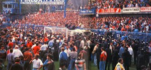 Hillsborough disaster - The Leppings Lane end inside Hillsborough Stadium during the disaster (goalposts centre)