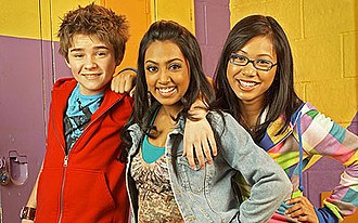 How to Be Indie - From left to right, Dylan Everett as Marlon, Melinda Shankar as Indie and Marline Yan as Abi from Season 1