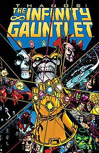 Thanos wearing the Infinity Gauntlet. Infinity Gauntlet #1 (July 1991).Art by George Perez.