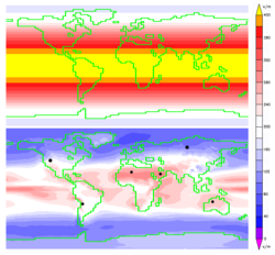Annual average insolation at the top of the atmosphere (above) is markedly higher that at Earth's surface (below). The black dots represent the land area required to replace the total primary energy supply with electricity from solar cells.