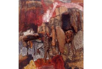 Collage - What may be called wood collage is the dominant feature in this 1964 mixed media painting by Jane Frank (1918–1986)