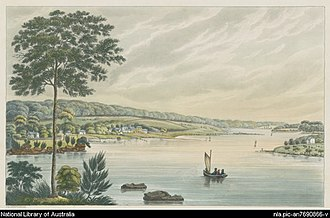 Joseph Lycett - The property of the late Mr James Squires, Kissing Point, New South Wales. Creator Lycett, Joseph, ca. 1775-1828.