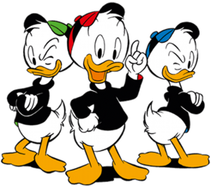 Huey, Dewey, and Louie - Left to right: Louie, Dewey, and Huey