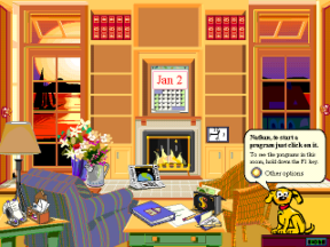 "Microsoft Bob - A screenshot of the ""family room"" area of the Microsoft Bob software, including the ""Assistant"" character Rover."