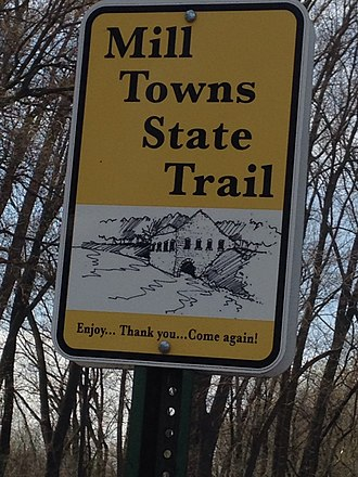 Mill Towns Trail - Sign for the Mill Towns Trail in Northfield.