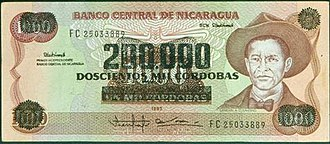 Nicaraguan córdoba - A 1,000-córdoba banknote, which was reprinted with a value of 200,000 córdobas during the inflationary period of the late 1980s.
