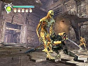 Ninja Gaiden (2004 video game) - Ninja Gaiden gameplay screenshot, showing the game's protagonist Ryu Hayabusa fighting against enemies.