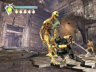 Ninja Gaiden (2004 video game) - Ninja Gaiden gameplay screenshot, showing the game's protagonist Ryu Hayabusa fighting against enemies.