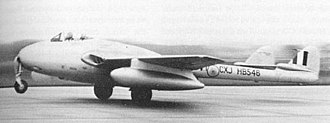 No. 7 Squadron IAF - One of the first three Vampires to be delivered to the Indian Air Force. The plane sports the Chakra roundel. This aircraft war later incorporated into No. 7 Sqn