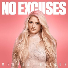 "A blonde woman standing in front of a pink background with ""No Excuses"" written above and behind her in white font."