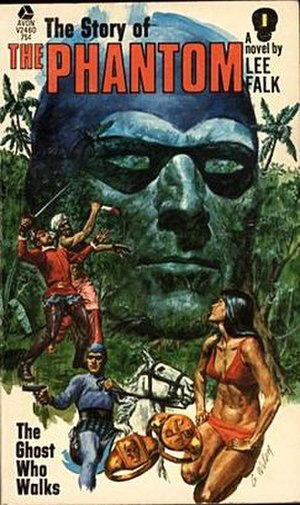 Lee Falk - Cover of Falk's novel The Story of the Phantom: The Ghost Who Walks. Drawn by George Wilson.