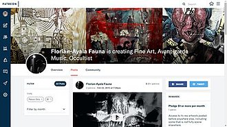 Patreon - Image: Patreon screenshot 20 January 2018