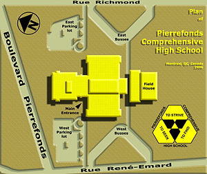 Pierrefonds Comprehensive High School - Digital plan of the building and property