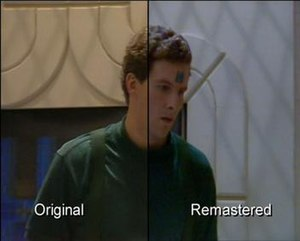 Red Dwarf Remastered - A still from Polymorph showing the before and after picture regrading