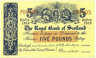 Royal Bank of Scotland - A Royal Bank of Scotland £5 note from 1964