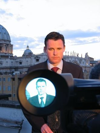 Ray Kennedy (journalist) - Ray Kennedy reporting from Rome for Sky News during election of new Pope, 2005
