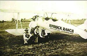 The Rimrock Ranch airplane, around 1930. Rimrock Ranch was a dude ranch near Montezuma Well.