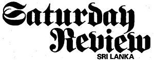 Saturday Review (Sri Lankan newspaper) - Image: Saturday Review nameplate