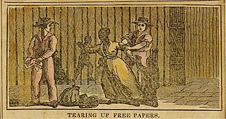 Reverse Underground Railroad - Tearing up the free-born and manumission papers and kidnapping of a free black, in the U.S. free states, to be sold into Southern slavery, from an 1838 abolitionist anti-slavery almanac