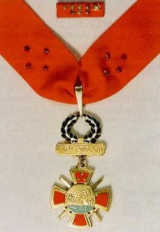 Armed Forces of the Philippines Medal of Valor - Service ribbon (top) and Medal of Valor on neck ribbon