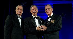 Chancellor Ballard accepting the 2010 Secretary of Defense Employer Support Freedom Award The Freedom Award - East Carolina University.jpg