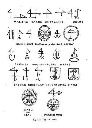"Merchant's mark - The Mystical Sign of Four, also called the ""Staff of Mercury""."