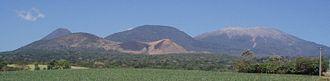 Cordillera de Apaneca - Santa Ana volcano (background, far right) with Izalco to the far left, Cerro Verde center and San marcelino vents in the foreground
