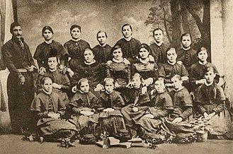 Macedonian Bulgarians - Girls in a Bulgarian Girls' High School of Thessaloniki, 1882.