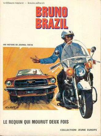 Bruno Brazil - Cover of the first album, Le requin qui mourut deux fois (1969)