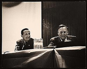 Rudolf Arnheim - Arnheim (L) and Greg Bateson (R) speaking at the American Federation of Arts 48th Annual Convention, 1957 Apr 6 / Eliot Elisofon, photographer. American Federation of Arts records, Archives of American Art, Smithsonian Institution