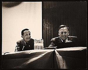 Rudolf Arnheim - Arnheim (L) and Greg Bateson (R) speaking at the American Federation of Arts 48th Annual Convention, 1957 Apr 6 / Eliot Elisofon, photographer. American Federation of Arts records, Archives of American Art, Smithsonian Institution