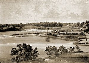 Fox–Wisconsin Waterway -  Landscape painting of The Cedars  Lock and Dam in 1856 commissioned by Martin. Drawn by Samuel M. Brookes and Thomas H. Stevenson, they were part of a group paintings of river town sites and locks for the Fox-Wisconsin River Improvement Co. The view is approximately from the present  Treaty of the Ceders monument on the north side of river.