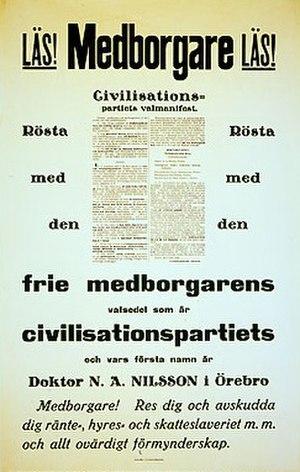Centre Party (Sweden, 1924) - Civilization Party election poster, 1924