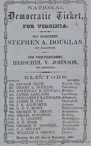 History of the United States Democratic Party - To vote for Douglas in Virginia, a man deposited the ticket issued by the party in the official ballot box