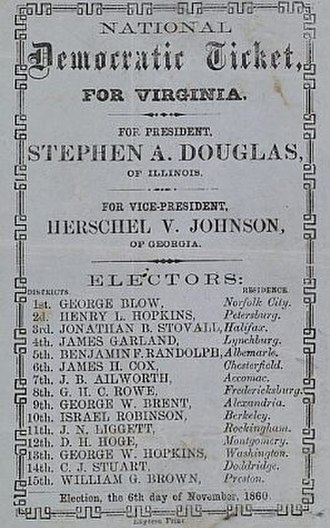 History of the United States Democratic Party - To vote for Stephen A. Douglas in Virginia, a man deposited the ticket issued by the party in the official ballot box